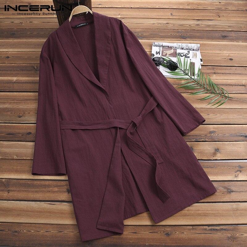 2019 Comfortable Men Bathobes Long Sleeve V-neck Solid Loungewear Loose Cotton Robe Women Man Bathrobe Pijama Gown 5XL Homewear