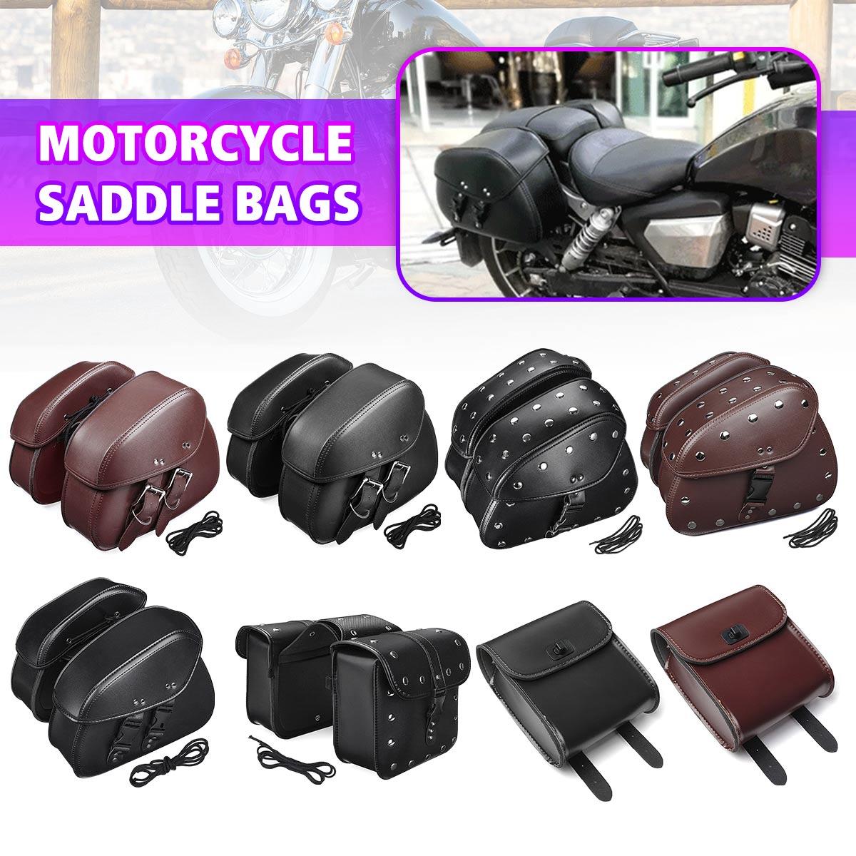 ᗑpair Brown Black Universal Pu Leather Motorcycle Tool Bag