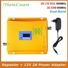TianLuan GSM 900 Mhz, DCS 1800 MHz de banda Dual amplificador de señal 2G 4G LTE GSM DCS teléfono móvil repetidor de señal con fuente de alimentación