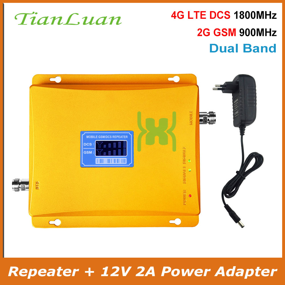 TianLuan GSM 900Mhz DCS 1800MHz Dual Band Signal Booster 2G 4G LTE GSM DCS Mobile Phone Signal Repeater With Power Supply