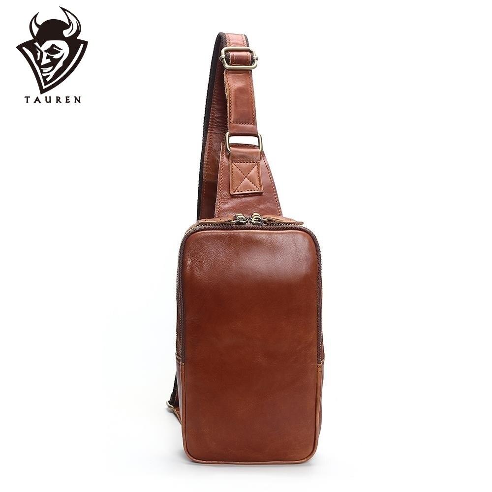 Mens Fashion Retro 100% Genuine Leather Leisure Travel Bag Shoulder Messenger Bag Man Chest Harness Chest PocketMens Fashion Retro 100% Genuine Leather Leisure Travel Bag Shoulder Messenger Bag Man Chest Harness Chest Pocket