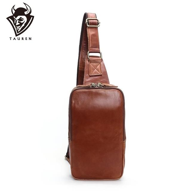 1ace1b38d0 Men s Fashion Retro 100% Genuine Leather Leisure Travel Bag Shoulder  Messenger Bag Man Chest Harness Chest Pocket