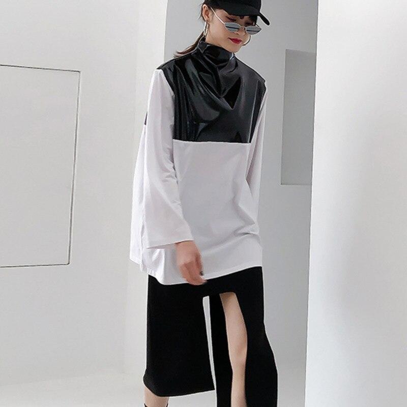 Printemps 2019 nouveau Patten demi col roulé à manches longues pu-patchwork Zipper coton Streetwear T-shirt femmes femme E933 - 3