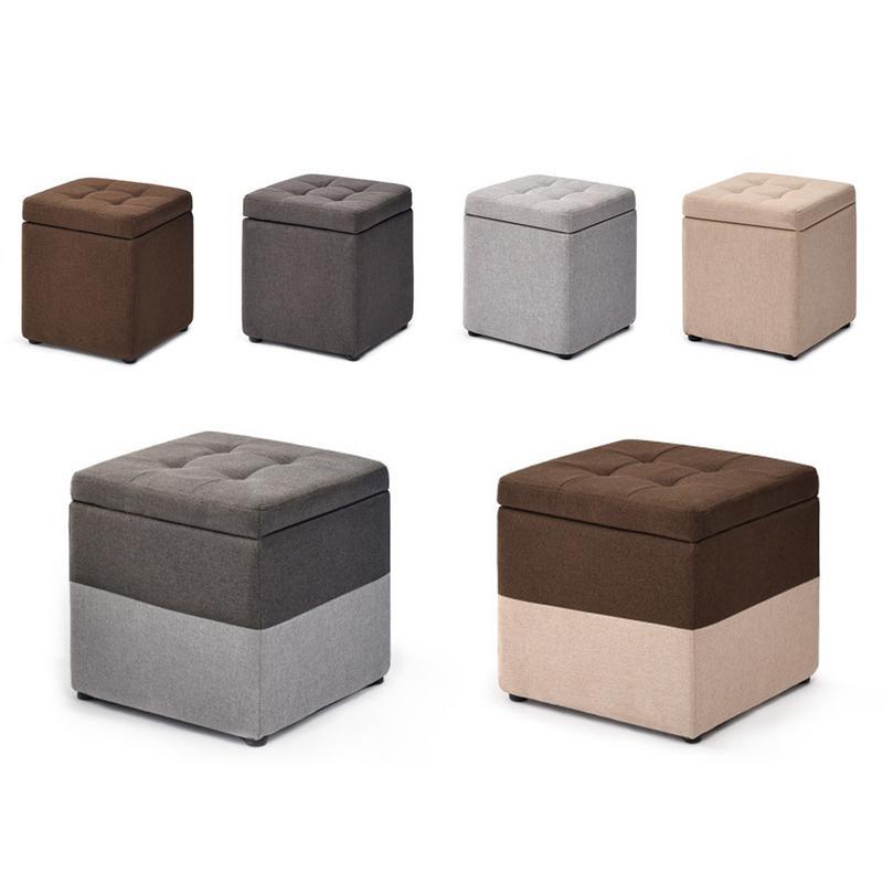 Denim tissu bois massif tabouret de rangement quatre marchepied jouet boîte de rangement avec housse étanche anti-mites rangement tabouret coussin de pied