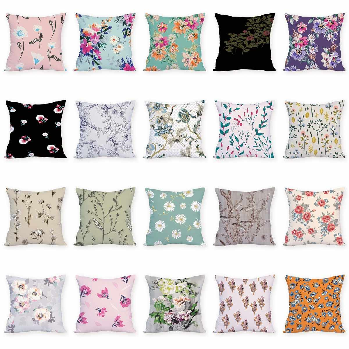 flowers pouf pillows colorful