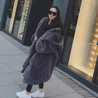 New Winter Warm Hooded Large Size Medium Length Solid Color Fur & Faux Fur Women 2018 New Casual Long Sleeve Women Fur Coat