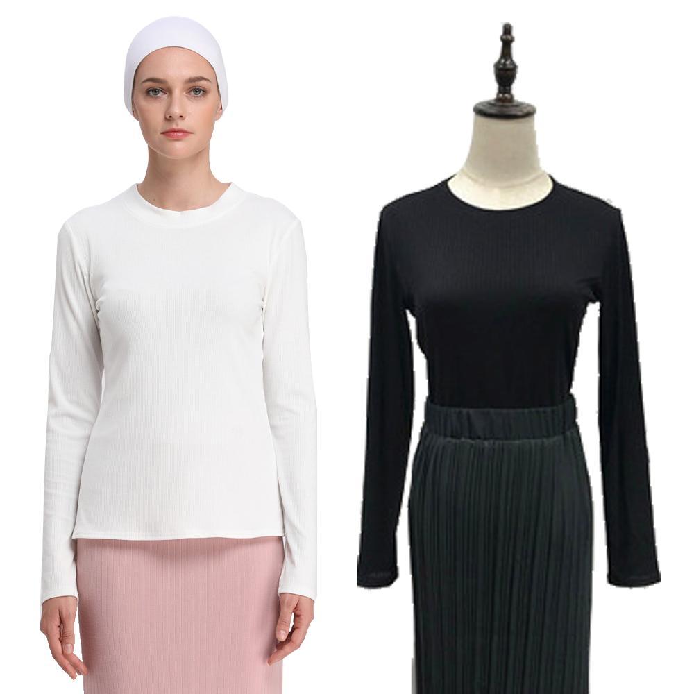 Women Undershirt Tops Muslim Long Sleeve Bottoming Shirt Solid Color