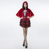 High Quality Sexy Lace Cardinal Small Red Riding Hood Costume Halloween Cosplay Party Little Red Cap Dress For Adult Women Girls