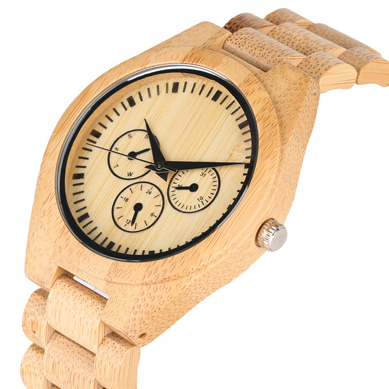 All Bamboo False Small Dial Wooden Quartz Watch Movement For Women Men Minimalist Wooden Watches Elegant Wood Strap Wrist Watch