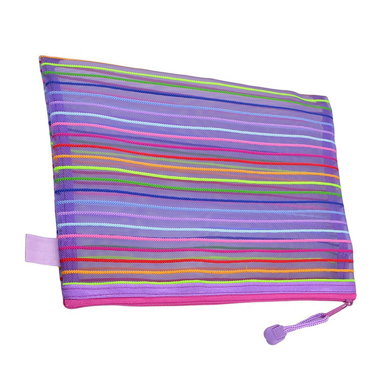 Zipper Nylon Mesh Purple Stripe A5 Documents, Pen File Pocket Folder