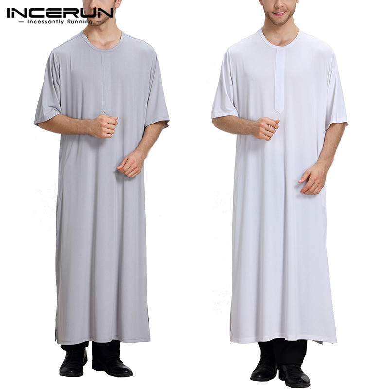 INCERUN Comfortable Pajamas Mens Kaftan Robe Dress Abaya Arab Clothing Man Arabe Hombre Bathrobe Lounge Gown Masculino Bathrobe(China)