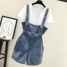 2019 Summer Women Clothing Denim Playsuits Strap Rompers Shorts Loose Casual Overalls Female