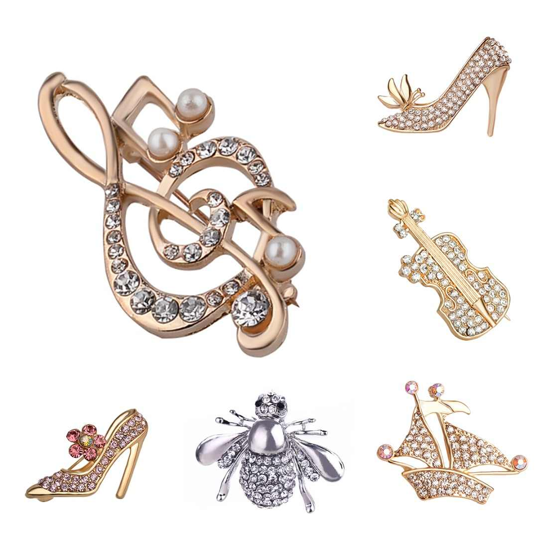 9d060e3c33 Women Crystal Vintage Brooches Charm High Heeled Shoes Guitar Brooch Pin  Fashion Dress Coat Accessories Jewelry bijoux femme