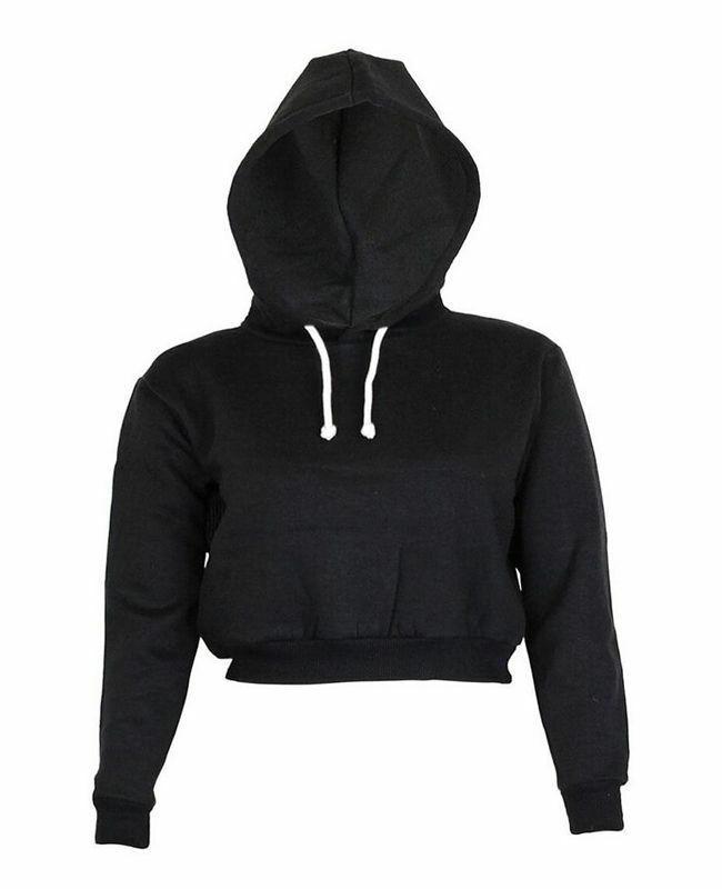 Women Stylish Plain Hangover Crop Top Hoodie Sweatshirt Sports  Hooded Full Wear Multiple Colors Hot
