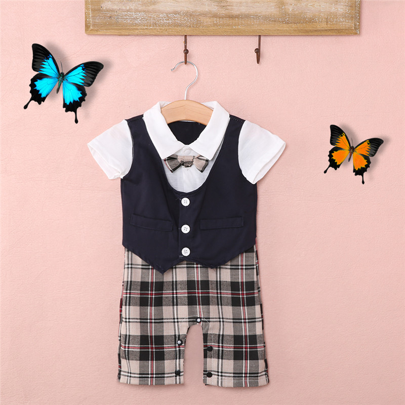 Canis Summer Newborn Kids Baby Boy Infant Top Plaid Romper Jumpsuit Shorts Clothes Sets Outfits Formal Gentleman Wedding Suits Clothing Sets