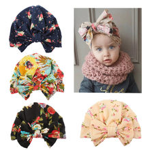 Baby Girl Headband Floral Cute Toddler Baby Infant Girls Toddler Comfy Cotton Beanie Winter Warm Cap Beanie Flower Bow Hat 0-3T(China)