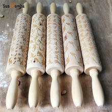 Wood Rolling Pin Tool Party Holiday Birthday Wedding Christmas Easter Halloween DIY Decoration for Bakeware Pizza Cookie Tools christmas decor wood rolling pin for bakeware pizza cookie tools baking pastry waffle molds pie new year party diy decorations