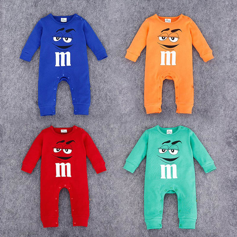 2017 Infant Clothes Autumn NewBorn Baby Rompers letter M Clothing Costumes Cartoon Funny Kids Jumpsuit New