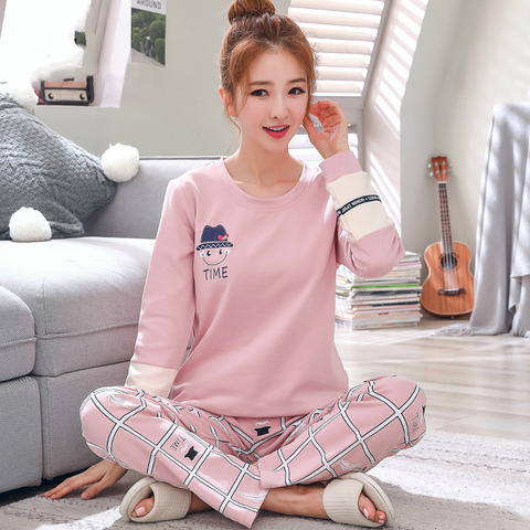 2019 Sleep Lounge Pajama Long Sleeve Top + Long Pant Woman Pajama Set Cartoon Pyjamas Cotton Sleepwear For Women M L XL XXL XXXL Pakistan