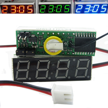 DIY электронные часы модуль 3 в 1 Автомобильная цифровая трубка светодиодный Вольтметр термометр время ЖК-дисплей Автомобильный стол часы циферблат