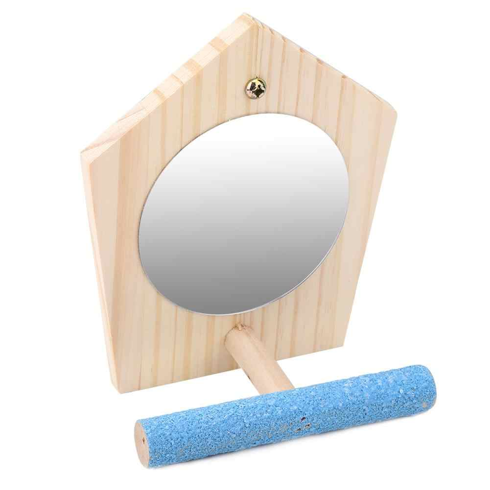 Мозг игра игрушка деревянная птица игрушка забавный попугай ПЭТ дерево Упоры для отжиманий от пола с зеркалом для птичья клетка аксессуары для птичьей клетки