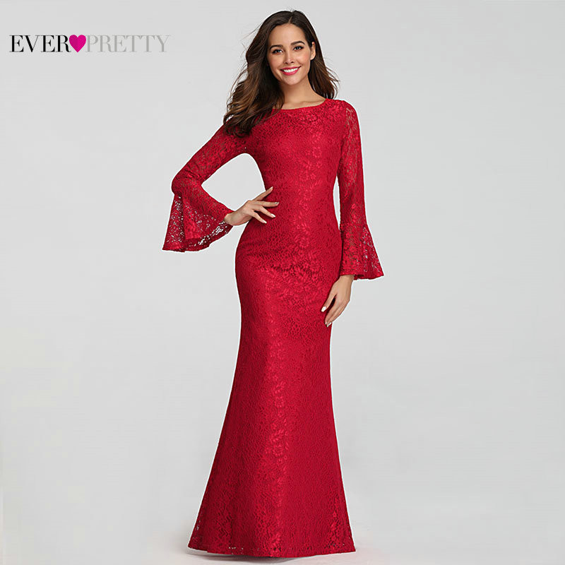 Ever Pretty Muslim   Evening     Dresses   Long Elegant Full Lace Red Long Sleeve Cheap Formal Prom Gowns EZ07798 Abendkleider 2019