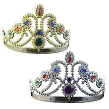2Pcs Party Tiara Royal Princess King Queen Prince Crown Hats Birthday Decor for Children Kids Girls Women Boys(China)