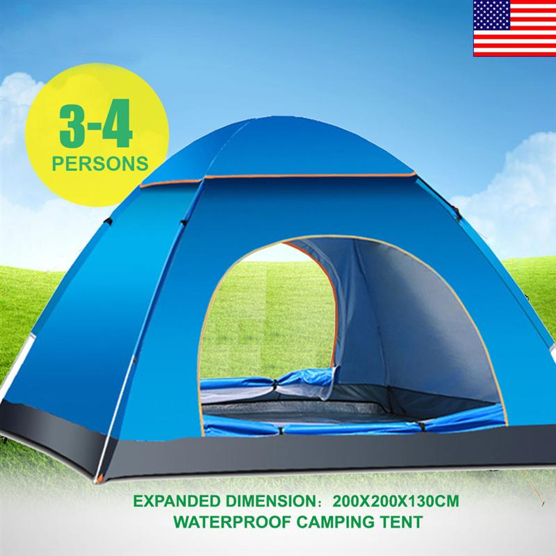 3-4 Person Automatic Folding Tents Family Tents Beach Tent Camping Double Speed to Open Rejection (Blue)3-4 Person Automatic Folding Tents Family Tents Beach Tent Camping Double Speed to Open Rejection (Blue)