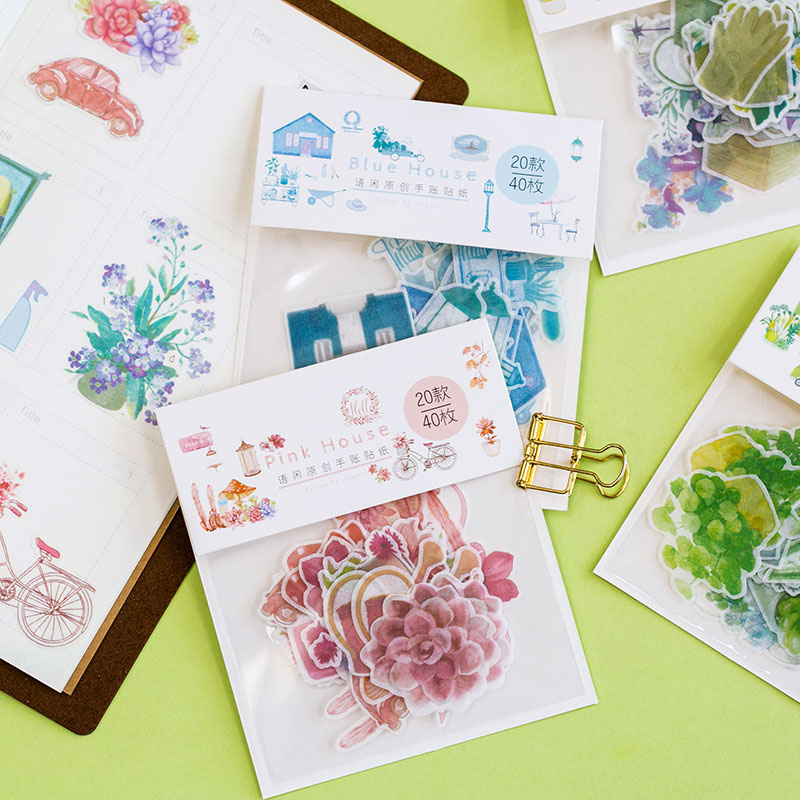 40pcs/bag Colorful House Washi Paper Stickers Flower Green Plants Adhesive Stickers Scrapbooking Diary Albums Diy  Autocollant