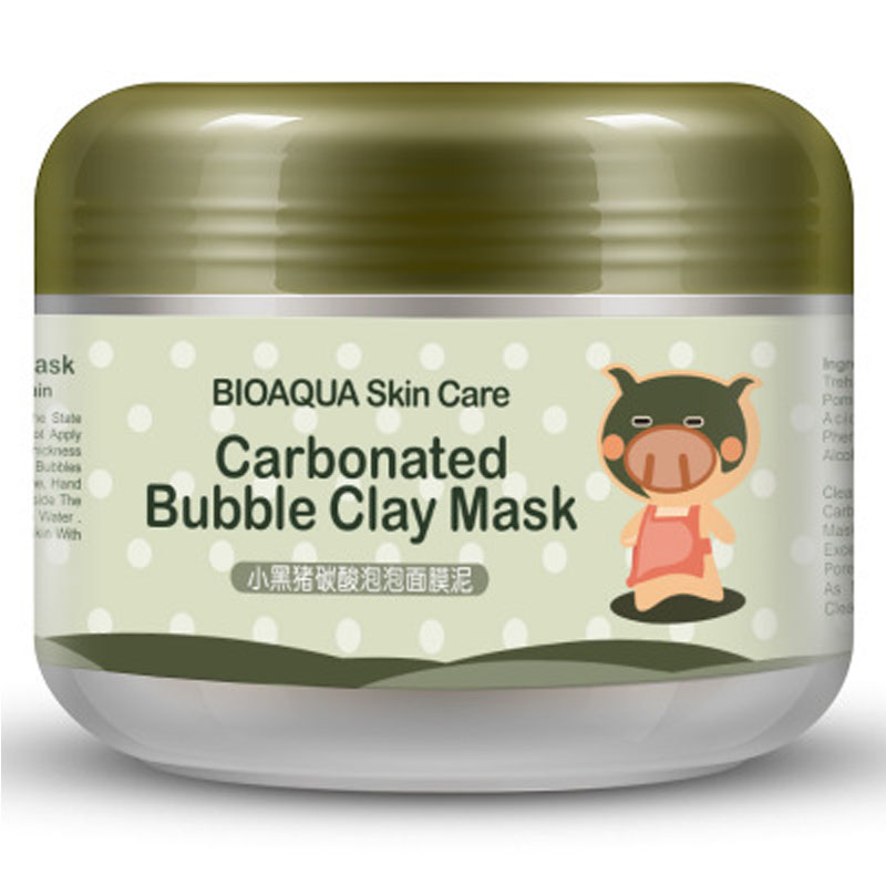 BIOAQUA Kawaii Black Pig Carbonated Bubble Clay Mask Winter Deep Cleaning Moisturizing Skin Care Clean Pores Korean Cosmet