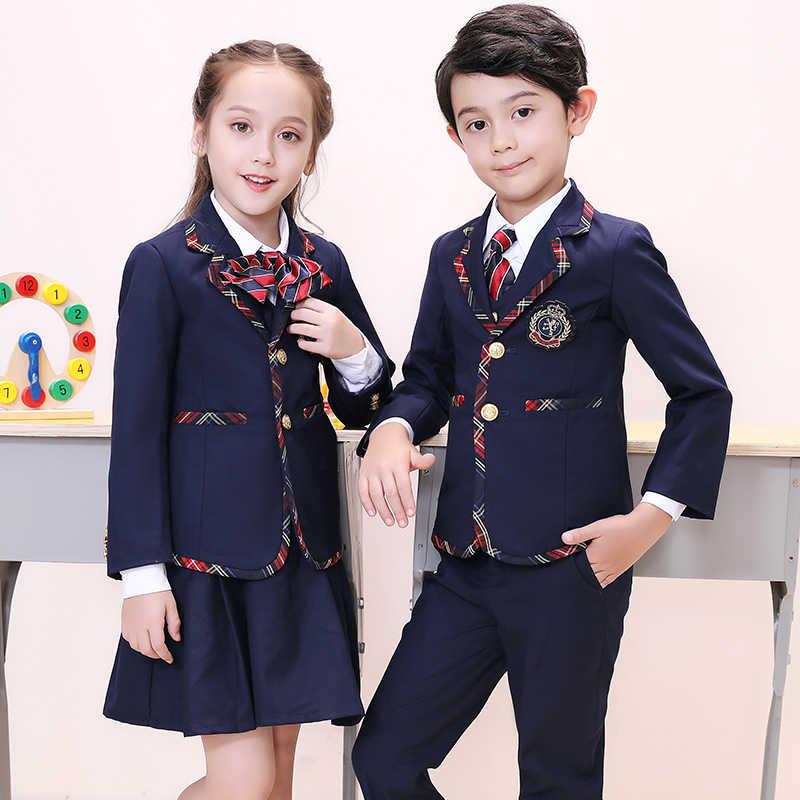 Школьная форма Chilidresn костюм женщина Сейлор платье для детского садика студент форма школьная юбка и жилет