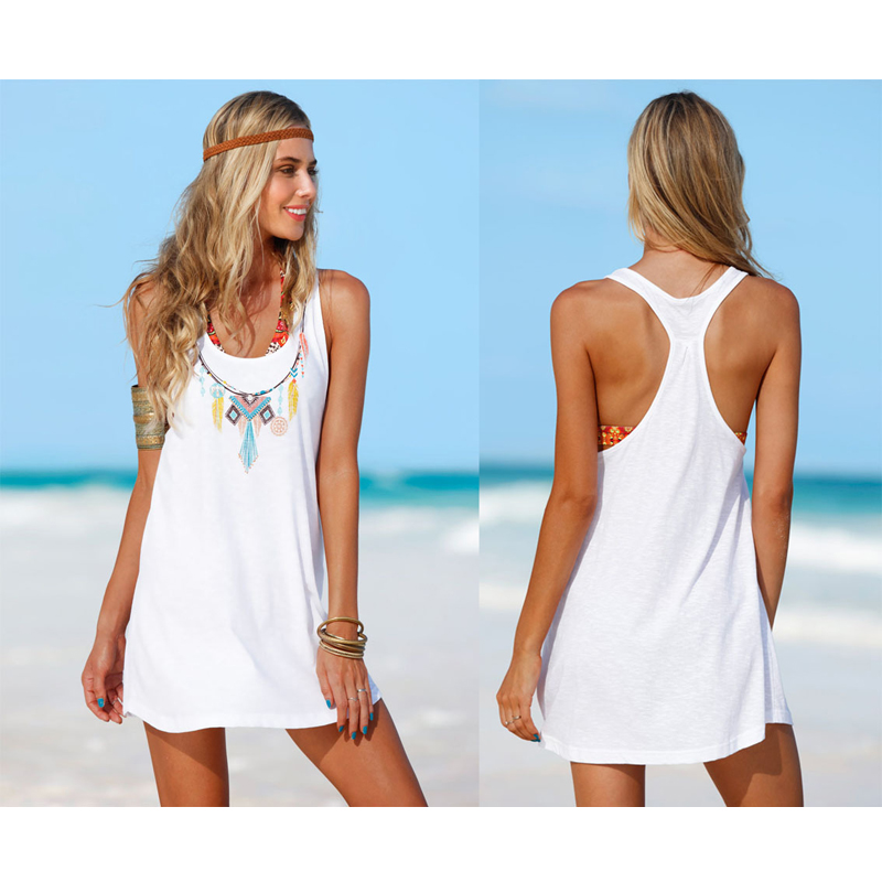 Summer Women Print Floral Beach Dress Sleeveless Mini A Line Tank Strap Off Shoulder Dress Beach Tunic Beach Sarong Bathing Suit