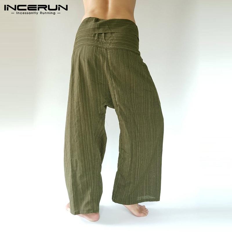 INCERUN Men Thai Fisherman Pants Striped Cotton Vintage Loose Casual Wide Leg Yoga-pants Pockets Joggers Trousers Men 2020 S-5XL