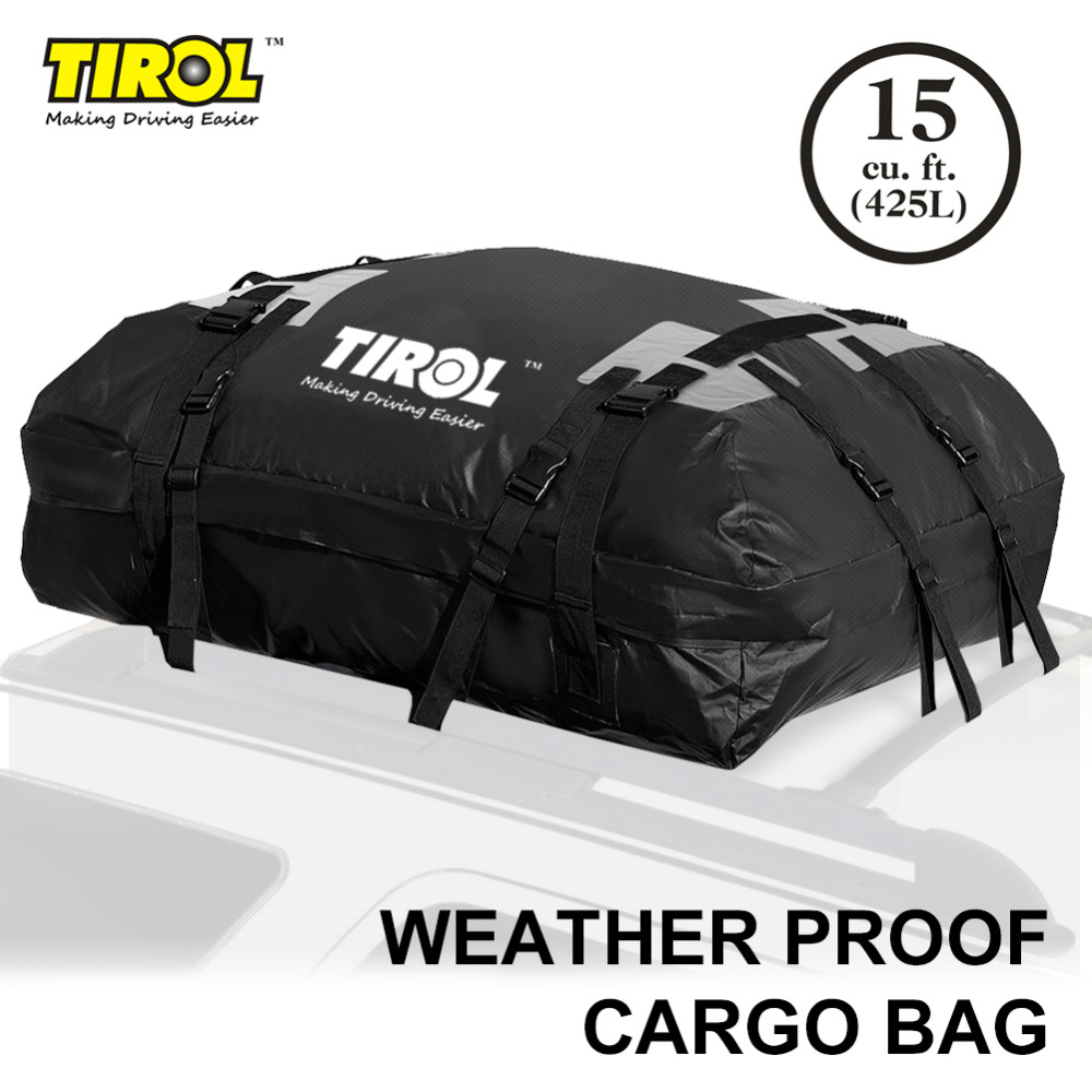 TIROL T24528a Waterproof Roof Top Carrier Cargo Luggage Travel Bag (15 Cubic Feet) For Vehicles With Roof Rails kemimoto 15 cubic feet rooftop cargo carrier waterproof roof top cargo luggage travel bag for car truck suv vans with roof rails
