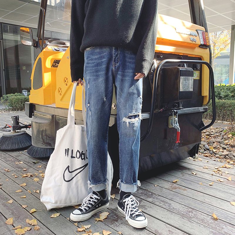 2019 Spring Clothes New Pattern Chic Holes Patch Thickening Bf Wind Jeans Men And Women A403 - K119 - P78 Control 95