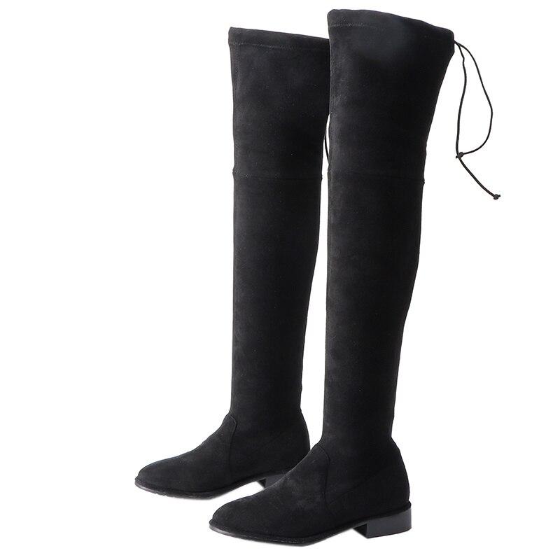 Классические ботфорты сапоги эластичные брюки облегающие сапоги женский круглая голова поднял плоским дном толстые высокие кожаные ботин