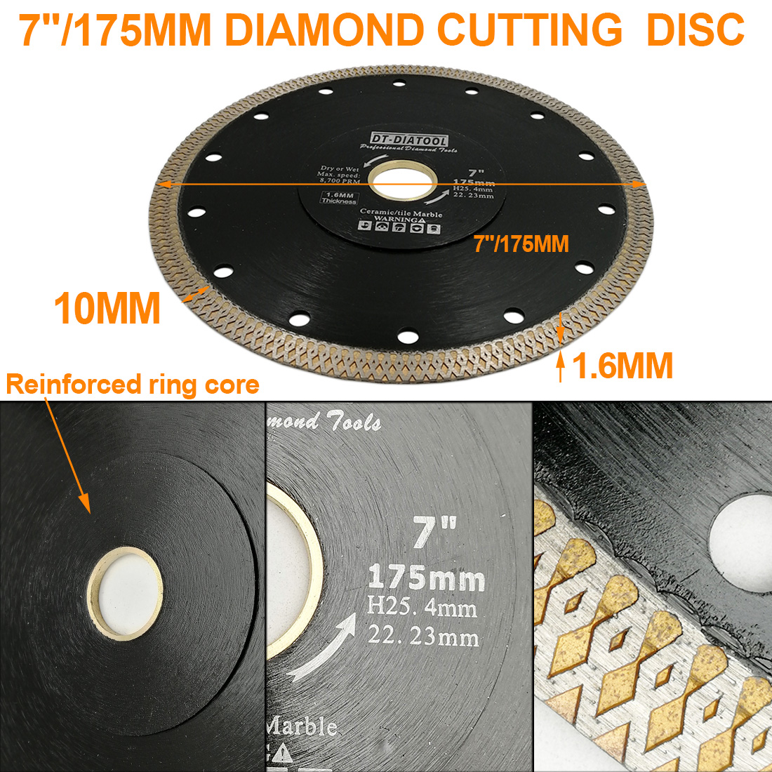 DT-DIATOOL Diamond Cutting Saw-Blades Porcelain Ceramic-Tile Disc-X-Mesh 1pc for Turbo-Rim