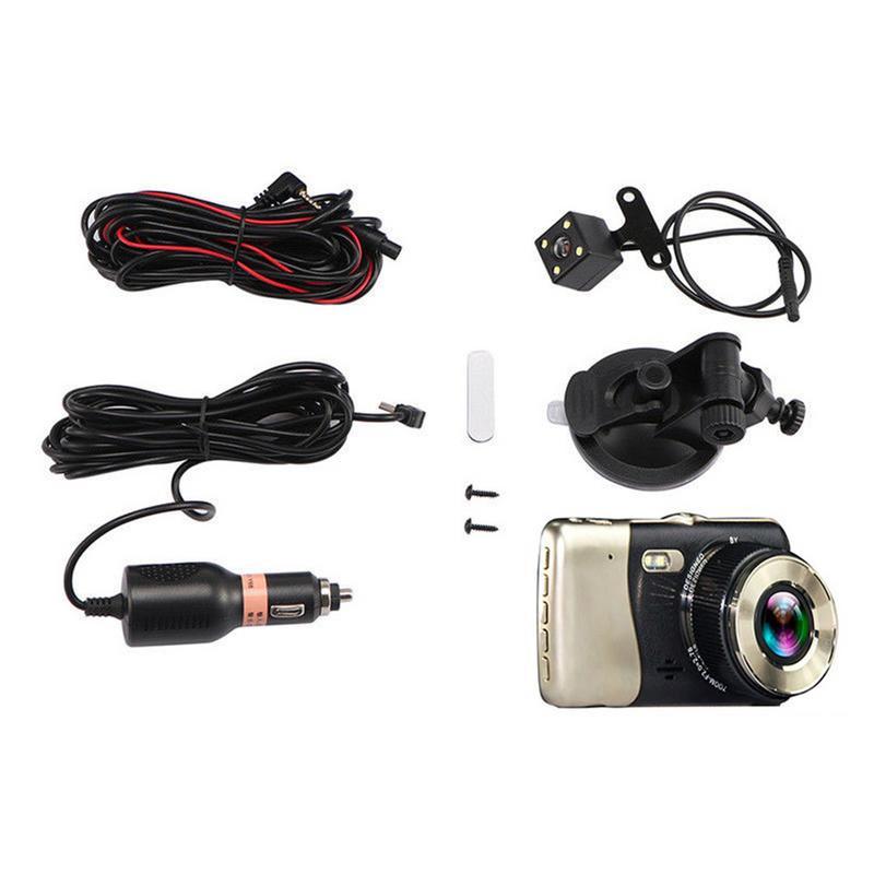 Image 4 - Мини DVR 4 дюйма Двойной объектив тире Камера HD 1080P автомобиль DVR видеорегистратор Регистраторы G Сенсор Ночное видение зеркало заднего вида DVR-in Видеорегистратор from Автомобили и мотоциклы