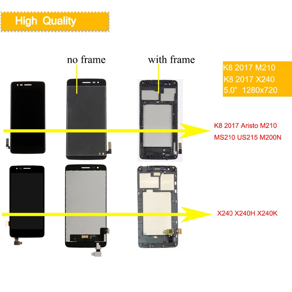 10Pcs/lot For LG K8 2017 LCD Aristo M210 MS210 US215 M200N LCD DIsplay Touch Screen Assembly with frame X240 X240F X240H X240K-in Mobile Phone LCD Screens from Cellphones & Telecommunications    1
