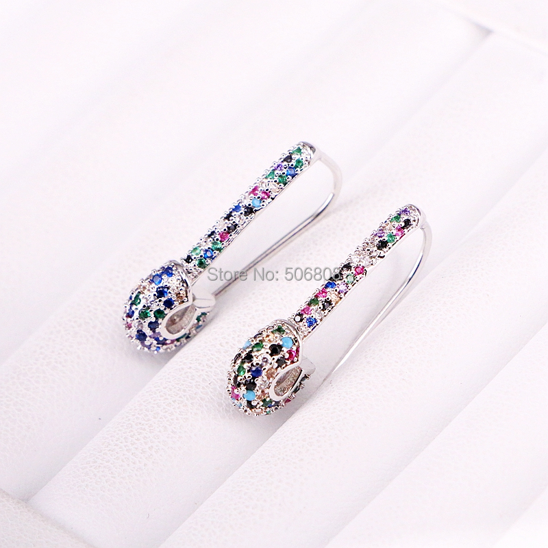 4 Pairs, Silver color paperclip safety pin delicate cz colorful earring trenty women jewelry