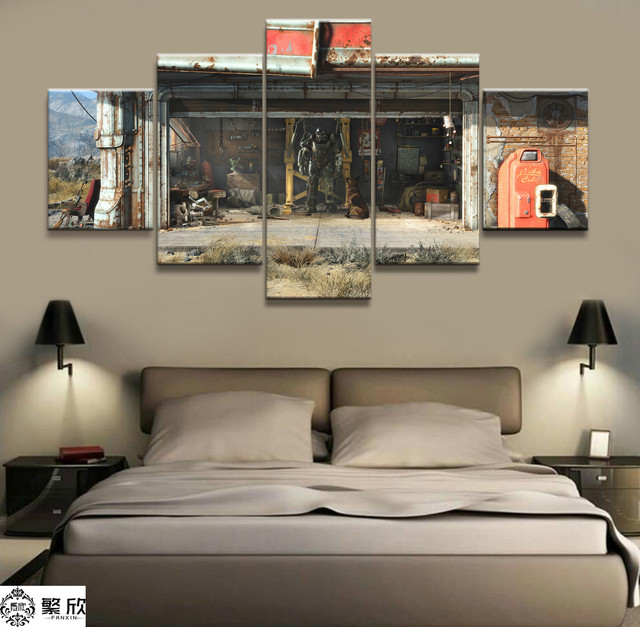 US $6 12 49% OFF 5 Piece Fallout 4 Game Machine Armor Poster Paintings on  Canvas Fort Cartoon Nite Wall Pictures Decor Canvas Wholesale-in Painting &