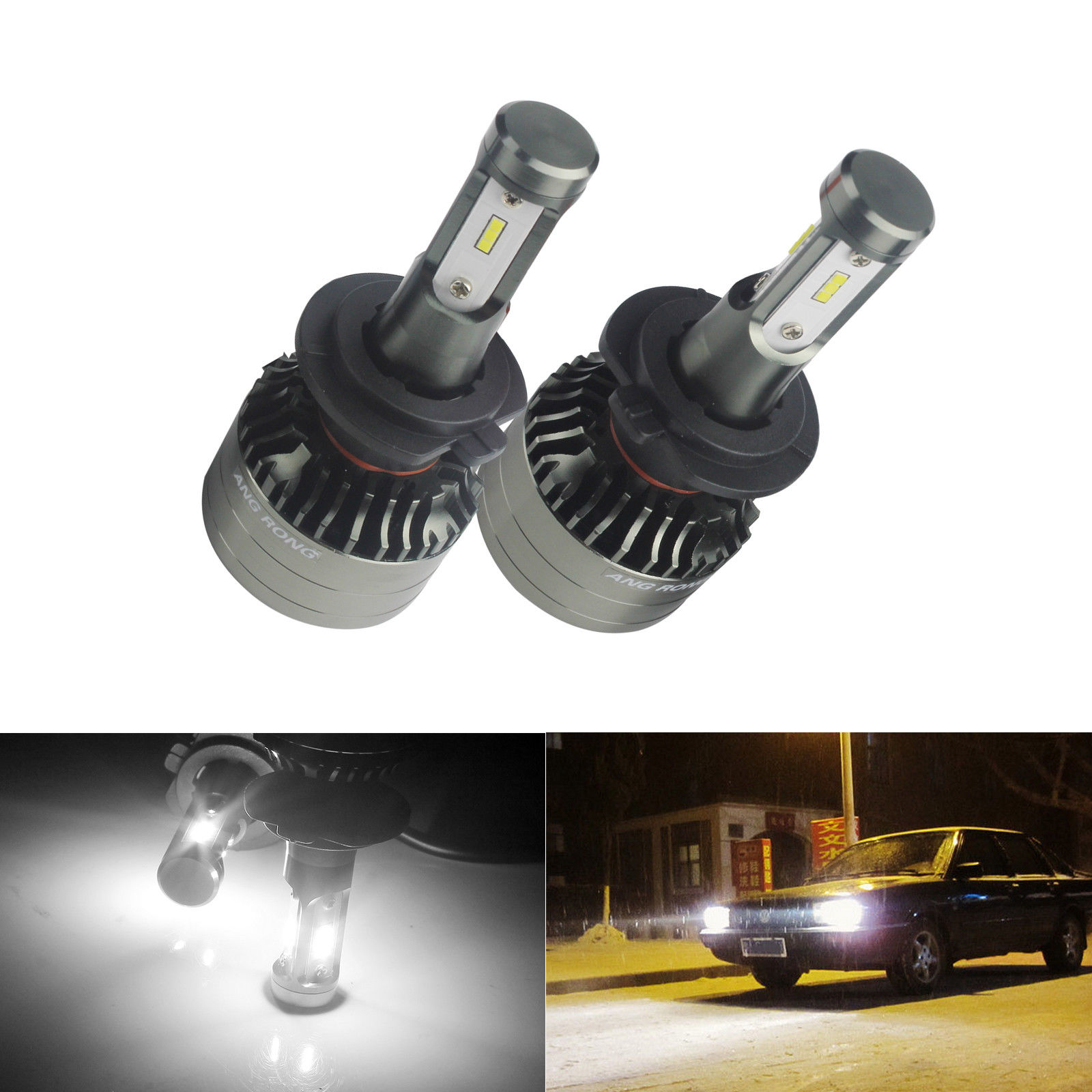 2pcs//Lot 80W White H4 9003 HB2 LED Fog Light Bulb 1000LM High Low Beam Headlight