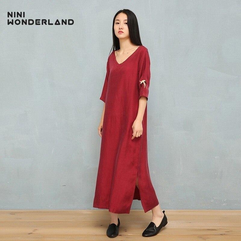 NINI WONDERLAND Summer V Neck Cupro And Silk Dress 2019 Embroidery Bird Classic Dress Female Brief