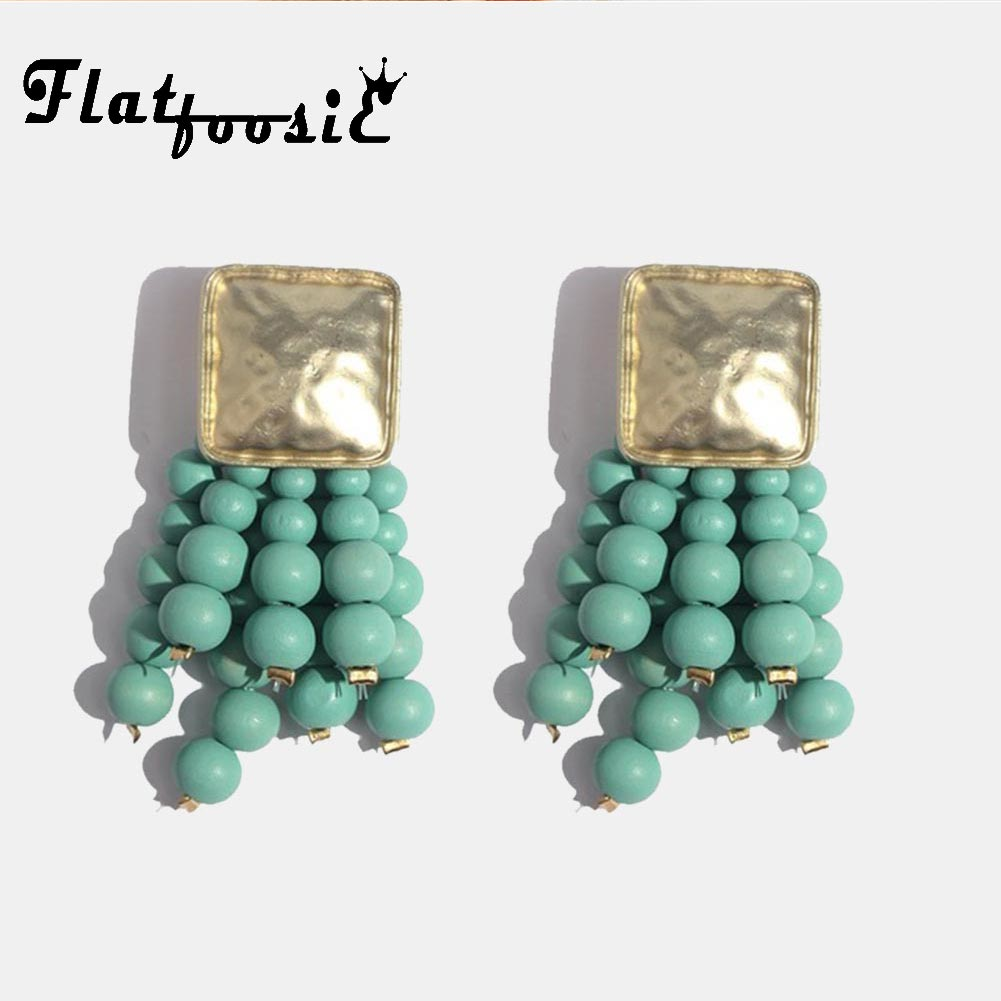 Flatfoosie Long Beads Tassel Drop Earrings For Women Square Handmade Wood Charm Big Earring Ethnic Boho Vintage New Hot Jewelry