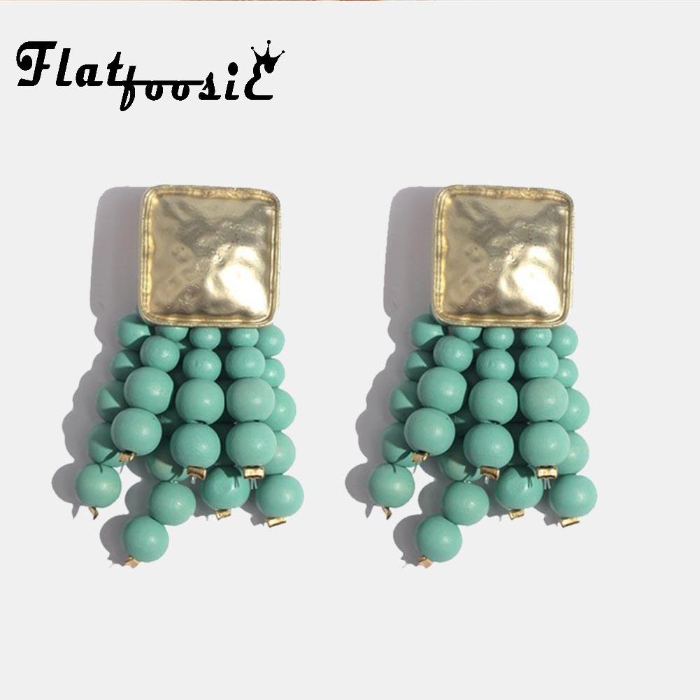 Flatfoosie Long Beads Tassel Drop Earrings For Women Square Handmade Wood Charm Big Earring Ethnic Boho Vintage New Hot Jewelry