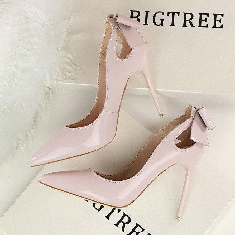 2019 туфли тонкие туфли женские туфли на высоком каблуке белые женские туфли лодочки на Высоком Каблуке 34 - 4