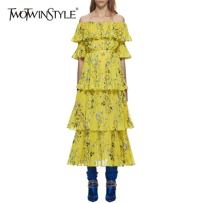 TWOTWINSTYLE Slash Neck Backless Pleated Print Dresses Women Short Sleeve High Waist Long Beach Dress Female