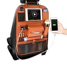 Кожаное сиденье автомобиля висит сумка ремень автомобиля зарядки спинки сумка для хранения Tissue Box складная рама стола разное Организатор