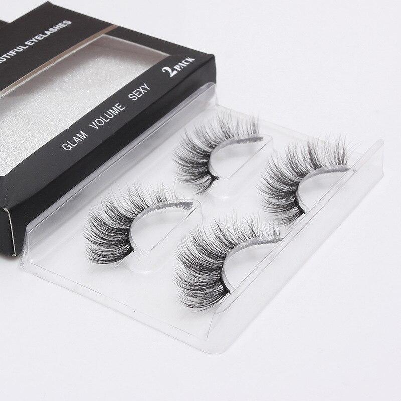 2 Pairs Fashion 3D Layered Long Thick False Fake Eyelashes Curved Eye Lashes