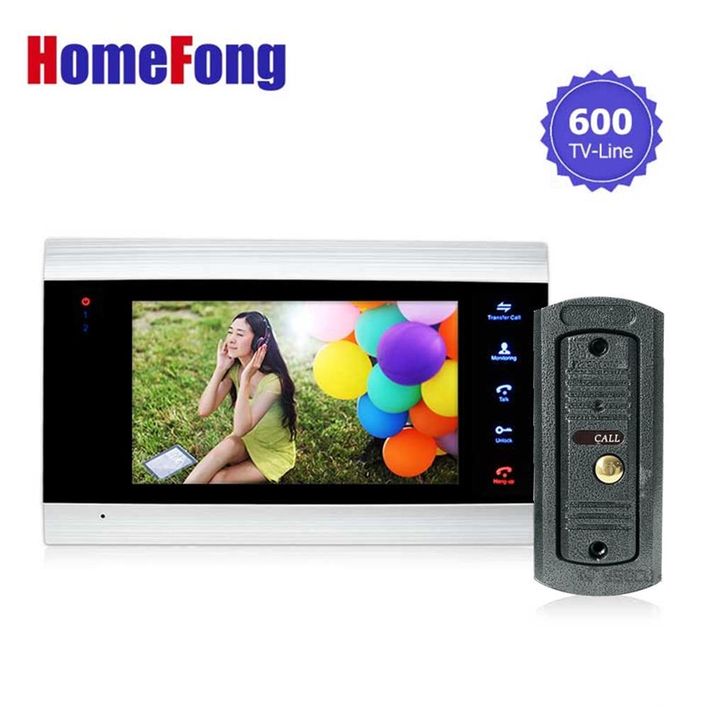 Homefong 7 pulgadas Color LCD Videoportero Teléfono Sistema de intercomunicación Desbloqueo de puerta Desbloqueo de color Timbre Cámara 600TVL Visión nocturna